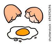 cracked egg   cartoon vector... | Shutterstock .eps vector #696592696