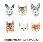 set of six different watercolor ... | Shutterstock . vector #696597022