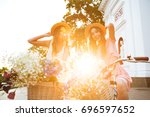 image of two young smiling... | Shutterstock . vector #696597652