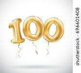 vector golden number 100...   Shutterstock .eps vector #696601408