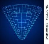 wireframe mesh funnel.... | Shutterstock .eps vector #696602782