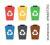 colored trash containers for...   Shutterstock .eps vector #696607252