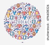 zodiac signs concept in circle...   Shutterstock .eps vector #696608326