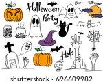 halloween hand draw doodle such ... | Shutterstock .eps vector #696609982