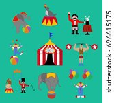 circus set on the green...   Shutterstock .eps vector #696615175