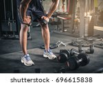 dumbbell gym weight fitness... | Shutterstock . vector #696615838