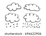 set cloud icon  black marker... | Shutterstock . vector #696622906