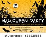 halloween invitation card... | Shutterstock .eps vector #696625855