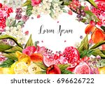 beautiful watercolor card with... | Shutterstock . vector #696626722