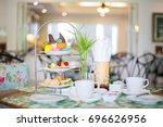 beautiful english afternoon tea ... | Shutterstock . vector #696626956