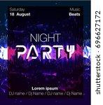 vertical music party poster...   Shutterstock .eps vector #696627172