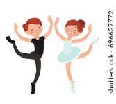 a boy and a girl are dancing... | Shutterstock .eps vector #696627772