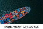aerial view container cargo... | Shutterstock . vector #696629566