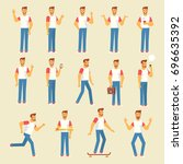 vector character in flat style... | Shutterstock .eps vector #696635392
