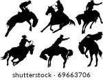 Cowboy On Horse Silhouettes On...