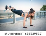 young fit woman with slim body... | Shutterstock . vector #696639532