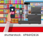 pos terminal confirms payment... | Shutterstock .eps vector #696642616