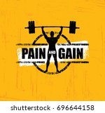 pain and gain. workout and... | Shutterstock .eps vector #696644158