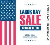 labor day sale banner. united... | Shutterstock .eps vector #696645076