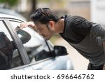asian man forgot the key inside ... | Shutterstock . vector #696646762