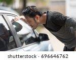 asian man forgot the key inside ...   Shutterstock . vector #696646762