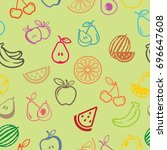 pictograph of fruits pattern... | Shutterstock .eps vector #696647608