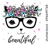 Stock vector beautiful cat and flower crown illustration vector 696649768