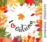 i love autumn background with... | Shutterstock .eps vector #696652192