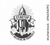 startup retro logo   rocket... | Shutterstock .eps vector #696656092