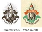 retro logo with a rising rocket ... | Shutterstock .eps vector #696656098