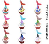 set of cupcakes isolated on... | Shutterstock .eps vector #696656662