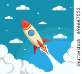 rocket launch representing high ... | Shutterstock .eps vector #696667552