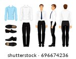 Vector illustration of corporate dress code. Men