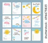 set of cute greeting cards ... | Shutterstock .eps vector #696675835