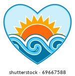 vector sun and waves in heart...   Shutterstock .eps vector #69667588