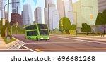 city street skyscraper... | Shutterstock .eps vector #696681268