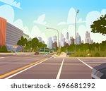 city street skyscraper... | Shutterstock .eps vector #696681292