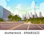 city street skyscraper... | Shutterstock .eps vector #696681622