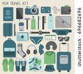 men travel kit. vector...   Shutterstock .eps vector #696682696