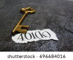 401k paper scrap with gold key ... | Shutterstock . vector #696684016
