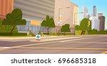 city street skyscraper... | Shutterstock .eps vector #696685318