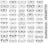 vector collection of glasses... | Shutterstock .eps vector #696689755