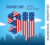usa 9.11 patriot day greeting... | Shutterstock .eps vector #696694765