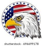 head of eagle with round banner ...   Shutterstock . vector #696699178