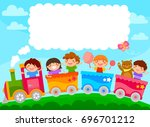 kids in a colorful train with... | Shutterstock .eps vector #696701212