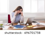 tired business woman with... | Shutterstock . vector #696701758