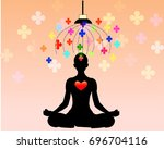young woman meditating in lotus ... | Shutterstock .eps vector #696704116