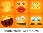 yellow cartoon emoticon square... | Shutterstock .eps vector #696714898