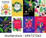 exotic tropical summer vacation ... | Shutterstock .eps vector #696717262