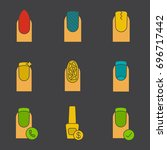 manicure glyph color icon set.... | Shutterstock .eps vector #696717442